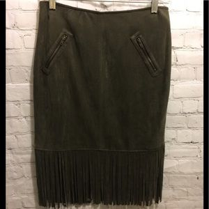 Do+Be olive green fringe skirt microsuede Medium
